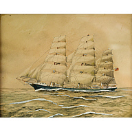 Watercolour of the clipper ship Thermopylae by J E Cooper 1886