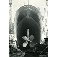 Black and White Photograph in album of construction of Norwegian whaler 'POL XV'