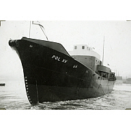 Black and White Photograph in album of launch of Norwegian whaler 'POL XV'