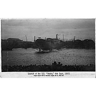 Black & White Postcard of Intaba being launched in Aberdeen Harbour 1910