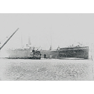 Black and white photograph showing the Duthie built and owned Steamship 'Telephone' at the Quayside