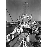 Black and white photograph showing the deck of the factory trawler 'Fairtry' looking forward from stern
