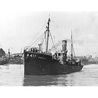 Black and white photograph Showing Port Side of the Trawler A477 Mount Ard in Aberdeen Harbour