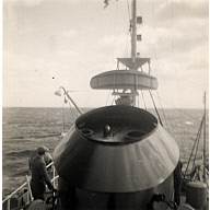 Black and white photograph taken during trial trip of Captain Riou