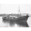 Black and white photograph Showing The Starboard Side Of The Trawler A152 'mount Eden' In Aberdeen Harbour