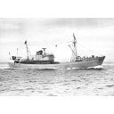 Black and white photograph showing the trawler Red Hackle