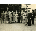 Photograph showing guests at the launch of the trawler Boston Britannia (Acadia Snowbird)