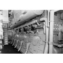 Black and white photograph showing engine room of cargo vessel 'Abel Tasman' Built by Hall Russell in 1957
