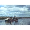 colour slide showing the trawler Grampian Eagle leaving Aberdeen harbour